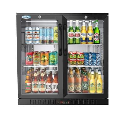 35 in. W 7.4 cu. ft. 2-Glass Door Counter Height Back Bar Cooler Refrigerator with LED Lighting in Black