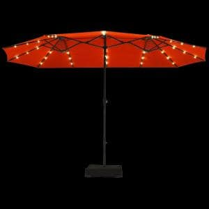 15 ft. Steel Market Solar Patio Umbrella in Orange with LED Lights and Base Stand