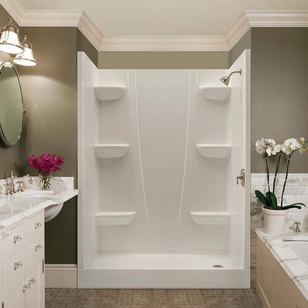 Aquatic A2 5 In X 23 In X 74 In 2 Piece Direct To Stud Shower Wall Panels In White 2374csw Aw The Home Depot