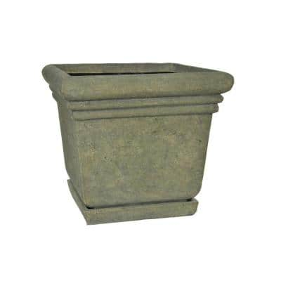 18-1/2 in. Square Cast Stone Fiberglass Planter with Attached Saucer in Aged Granite Finish
