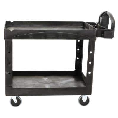 Heavy Duty Black 44 in. 2-Shelf Utility Cart with Lipped Shelf in Medium with Casters