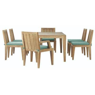 Bermuda 7-Piece All-Weather Eucalyptus Wood Outdoor Patio Dining Set with Fabric Spa Blue Cushions
