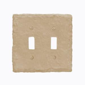 Faux Slate 2 Gang Toggle Resin Wall Plate - Almond