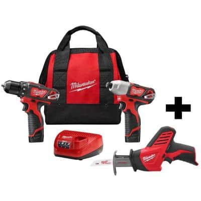 M12 12-Volt Lithium-Ion Cordless Drill Driver/Impact Driver Combo Kit (2-Tool) with M12 Hackzall Reciprocating Saw
