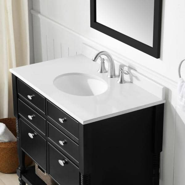 Ove Decors Elizabeth 36 In Vanity In Espresso With Cultured Marble Vanity Top In White Elizabeth 36 The Home Depot