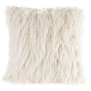 White 18'' W x 18'' L Faux Mongolian Fur Decorative Throw Pillow