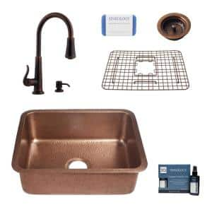 Renoir All-in-One Undermount Copper 23 in. Single Bowl Kitchen Sink with Pfister Ashfield Bronze Faucet and Strainer