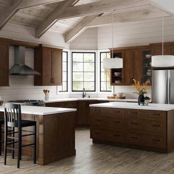 Hampton Bay Designer Series Soleste Assembled 36x12x15 In Deep Wall Bridge Kitchen Cabinet In Spice W361215 Shsp The Home Depot