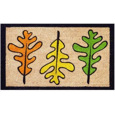 Seasonal Collection Les Trois Feuilles 18 in. x 30 in. Coir Entrance Outdoor Door Mat