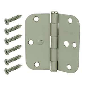3-1/2 in. Satin Nickel 5/8 in. Radius Security Door Hinges Value Pack (3-Pack)
