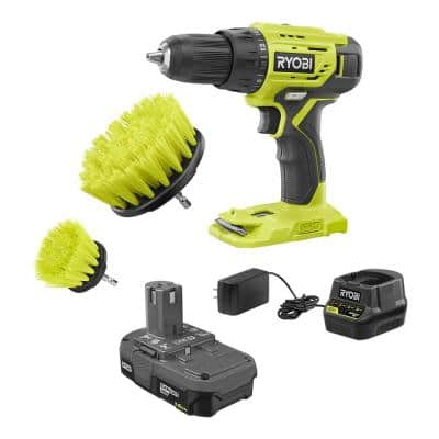 ONE+ 18V Cordless 1/2 in. Drill/Driver Kit with 1.5 Ah Battery, Charger, and Medium Bristle Brush Cleaning Kit (2-Piece)