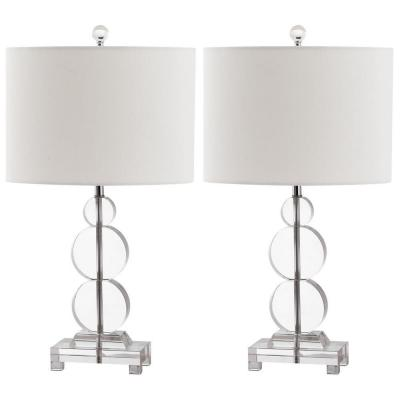 Moira 23 in. Clear Crystal Disc Table Lamp with Off-White Shade (Set of 2)