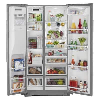 36 in. W 22.6 cu. ft. Side by Side Refrigerator in Stainless Steel with PrintShield Finish, Counter Depth
