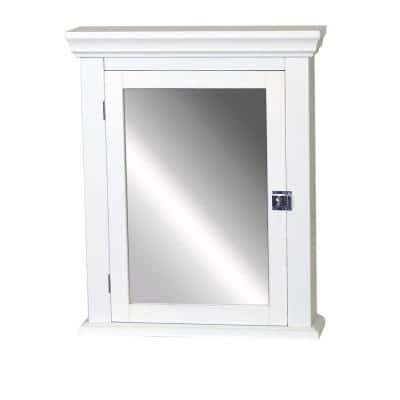 Early American 22-1/4 in. W x 27 in. H x 5-7/8 in. D Framed Surface-Mount Bathroom Medicine Cabinet in White