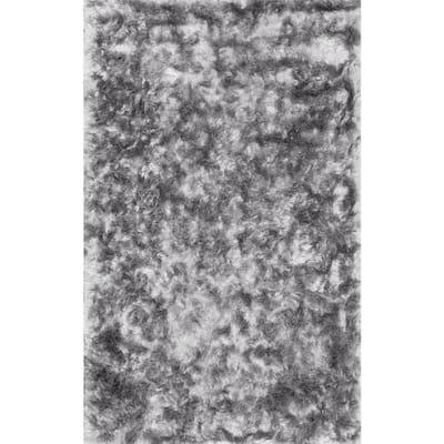 Latonia Silken Shag Silver 8 ft. x 10 ft. Area Rug