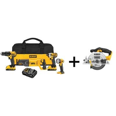 20-Volt MAX Cordless Combo Kit (4-Tool) with (2) 20-Volt 2.0Ah Batteries & 6-1/2 in. Circular Saw