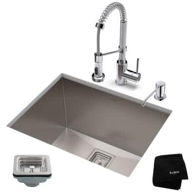 Pax All-in-One Undermount Stainless Steel 24 in. Single Bowl Kitchen Sink with Faucet in Chrome