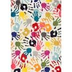 Pinkie Handprint Playmat Multi 3 ft. x 5 ft.  Area Rug
