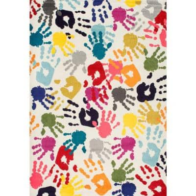 Pinkie Handprint Playmat Multi 3 ft. x 5 ft.  Area Rug