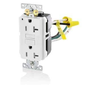 20 Amp SmartlockPro Industrial Grade Heavy Duty Tamper Resistant GFCI Outlet with Leads, White