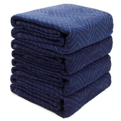72 in. x 80 in. 20 lbs. Professional Heavy-Duty Non-Woven Padded Moving Blankets (4-Pack)