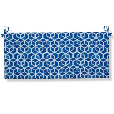 Cubed Blue Rectangular Outdoor Bench Cushion with Ties