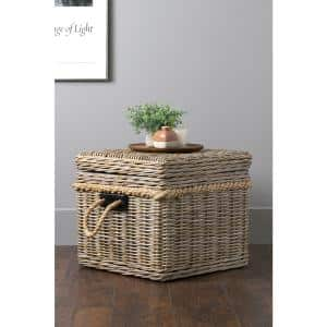 Lawton Square Rattan Storage Trunk with Lid
