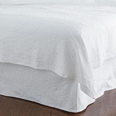 Putnam Matelasse 14 in. White Cotton Twin Bed Skirt