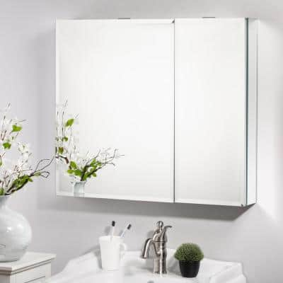 30 in. W x 26 in. H White Recessed or Surface Mount Medicine Cabinet with Mirror