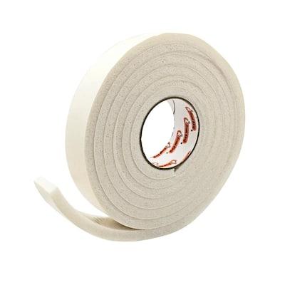 1-1/4 in. x 7/16 in. x 10 ft. White High-Density Rubber Foam Weatherstrip Tape