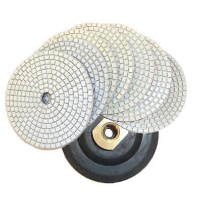 4 in. JHX Dry/Wet Diamond Polishing Pads for Concrete/Granite (Set of 7) with 4 in. Back Holder