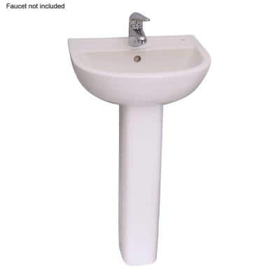 Compact 450 18 in. Pedestal Combo Bathroom Sink with 1 Faucet Hole in White
