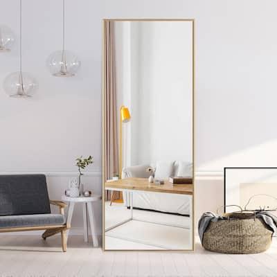 64.17 in.  X 21.26 in. Modern Rectangle Oversized Gold Metal Framed Full Length Standing Mirror