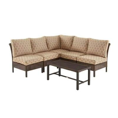Harper Creek 6-Piece Brown Steel Outdoor Patio Sectional Sofa Seating Set with CushionGuard Toffee Trellis Tan Cushions
