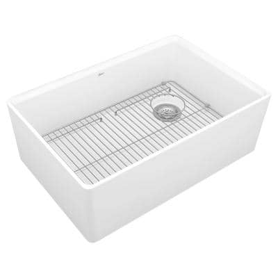 Avery Dual Mount Apron-Front Fireclay 30 in. Single Bowl Kitchen Sink in Alabaster White