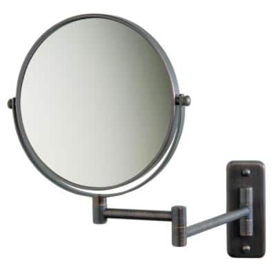 5X 12 in. L x10 in. W Wall Mount Makeup Mirror in Bronze