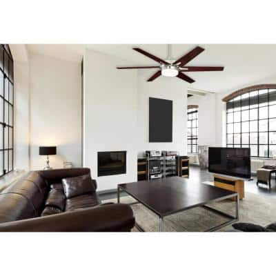 Cayuga 60 in. LED Indoor Brushed Nickel Ceiling Fan with Remote Control
