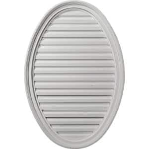 25 in. x 37 in. Oval Primed Polyurethane Paintable Gable Louver Vent Functional