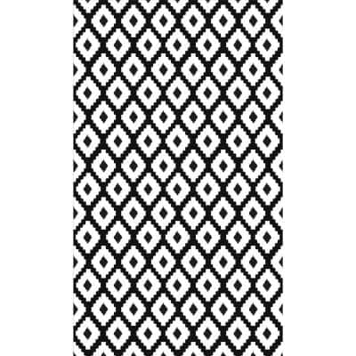 Decorative Black and White 20 in. x 34 in. Laminated Kitchen Mat