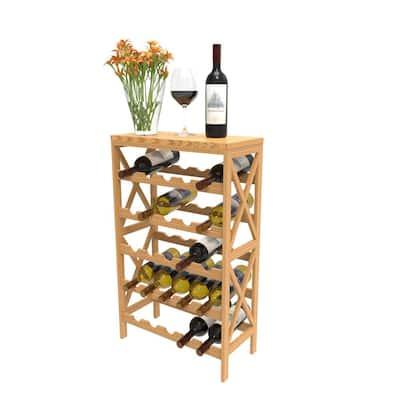 25-Bottle Brown Floor Wine Rack