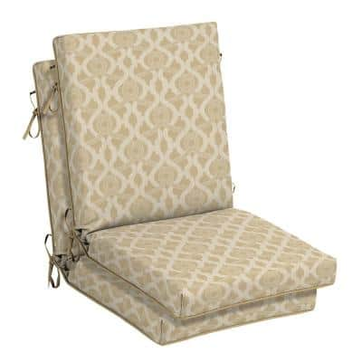 21 in. x 24 in. Almond Biscotti Trellis Outdoor High Back Dining Chair Cushion (2-Pack)