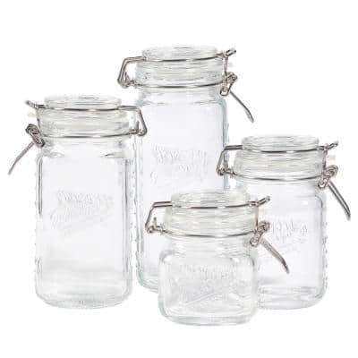 Mini Preserving Jar Set with Clamp Glass Lids (Set of 2)