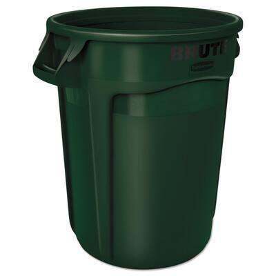 Brute 32 Gal. Dark Green Plastic Round Trash Can