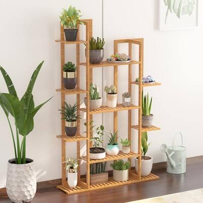 7-Tier Bamboo Shelf Flower Pot Plant Stand Wooden Rack