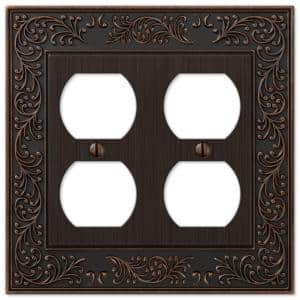 English Garden 2 Gang Duplex Metal Wall Plate - Aged Bronze