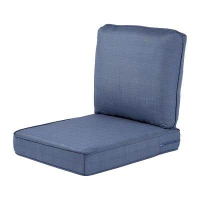 Spring Haven 23.5 in. x 26.5 in. 2-Piece Outdoor Lounge Chair Cushion in Standard Blue