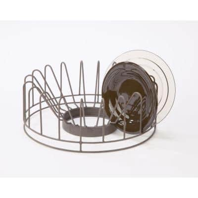 Brown Metal Circular Storage Dish Rack