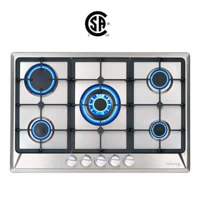 30 in. Built-in Gas Stove Top LPG Natural Gas Cooktop in Stainless Steel with 5 Sealed Burners, ETL