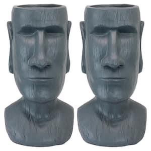 Easter Island Massive Megalith Moai Head Planter Statue Set (2-Piece)