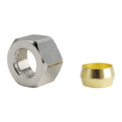 3/8 in. Chrome-Plated Brass Compression Nuts and Brass Sleeve Fittings (2-Pack)